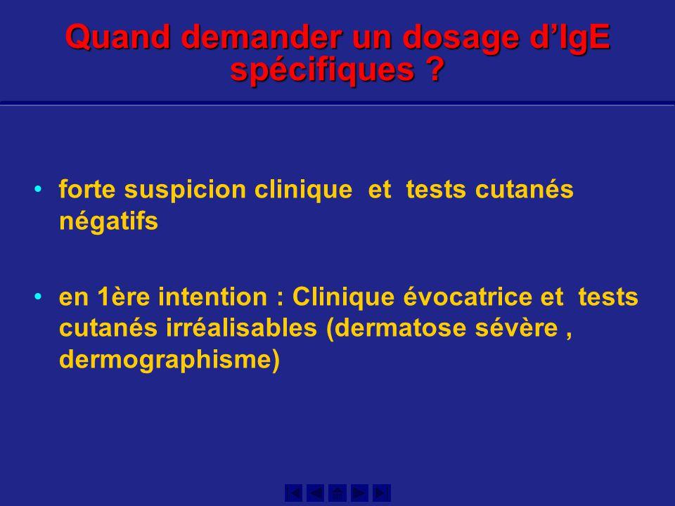 forte suspicion clinique et tests cutanés négatifs en 1ère intention : Clinique évocatrice et tests cutanés irréalisables (dermatose sévère, dermograp