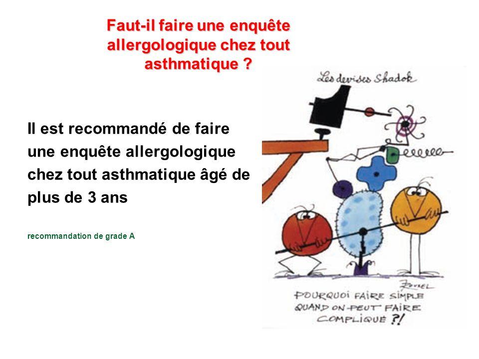 Faut-il faire une enquête allergologique chez tout asthmatique ? Il est recommandé de faire une enquête allergologique chez tout asthmatique âgé de pl
