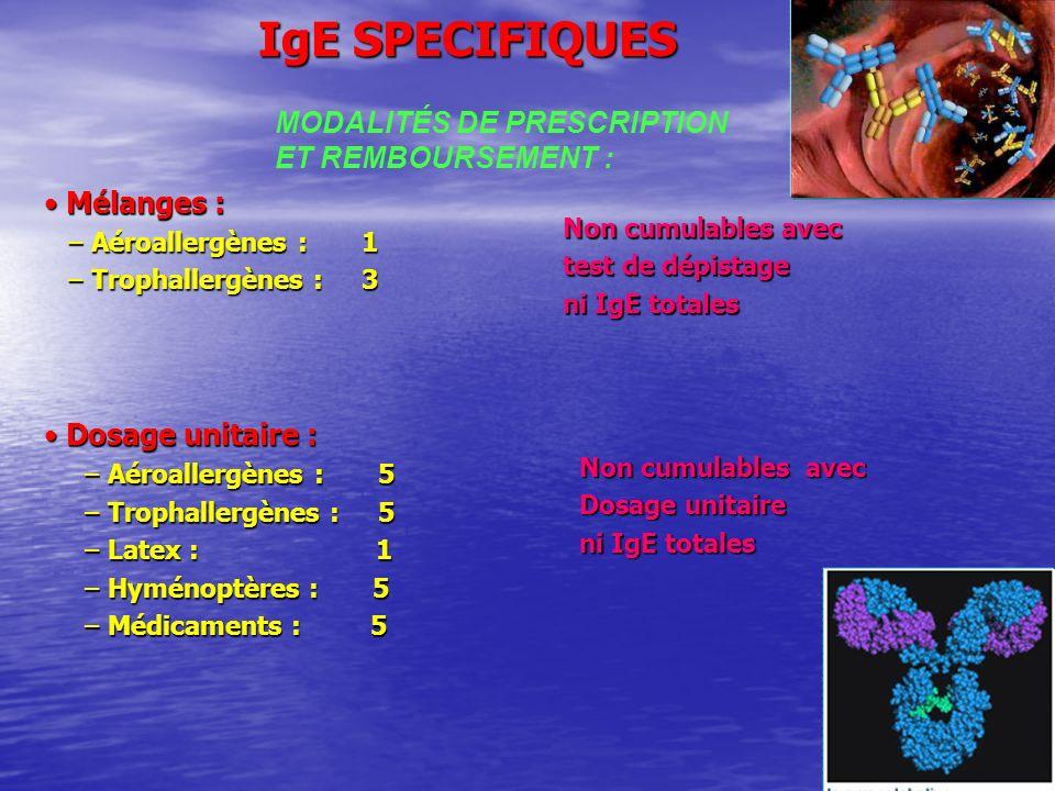IgE SPECIFIQUES Mélanges : Mélanges : – Aéroallergènes : 1 – Aéroallergènes : 1 – Trophallergènes : 3 – Trophallergènes : 3 Dosage unitaire : Dosage unitaire : – Aéroallergènes : 5 – Aéroallergènes : 5 – Trophallergènes : 5 – Trophallergènes : 5 – Latex : 1 – Latex : 1 – Hyménoptères : 5 – Hyménoptères : 5 – Médicaments : 5 – Médicaments : 5 Non cumulables avec test de dépistage ni IgE totales Non cumulables avec Dosage unitaire ni IgE totales MODALITÉS DE PRESCRIPTION ET REMBOURSEMENT :