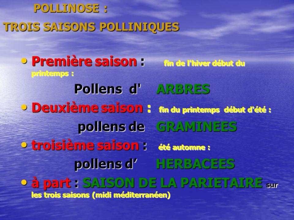 POLLINOSE : TROIS SAISONS POLLINIQUES POLLINOSE : TROIS SAISONS POLLINIQUES Première saison : fin de l hiver début du printemps : Première saison : fin de l hiver début du printemps : Pollens d ARBRES Pollens d ARBRES Deuxième saison : fin du printemps début d été : Deuxième saison : fin du printemps début d été : pollens de GRAMINEES pollens de GRAMINEES troisième saison : été automne : troisième saison : été automne : pollens d HERBACEES pollens d HERBACEES à part : SAISON DE LA PARIETAIRE sur les trois saisons (midi méditerranéen) à part : SAISON DE LA PARIETAIRE sur les trois saisons (midi méditerranéen)
