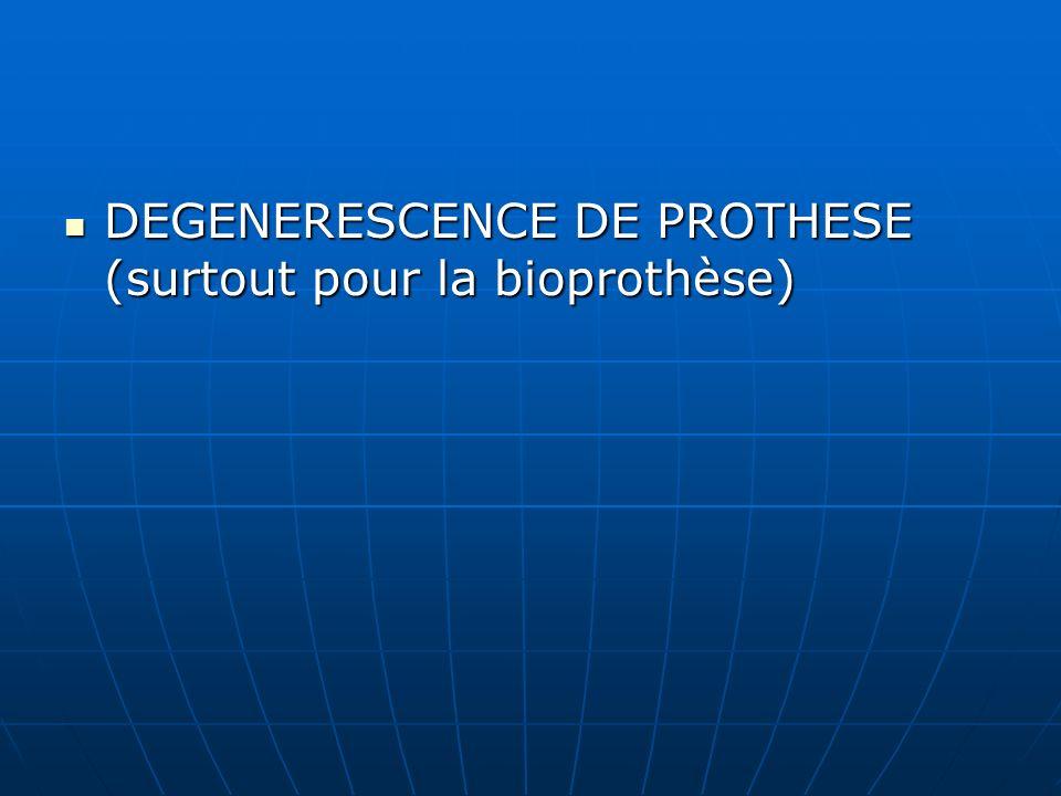 DEGENERESCENCE DE PROTHESE (surtout pour la bioprothèse) DEGENERESCENCE DE PROTHESE (surtout pour la bioprothèse)