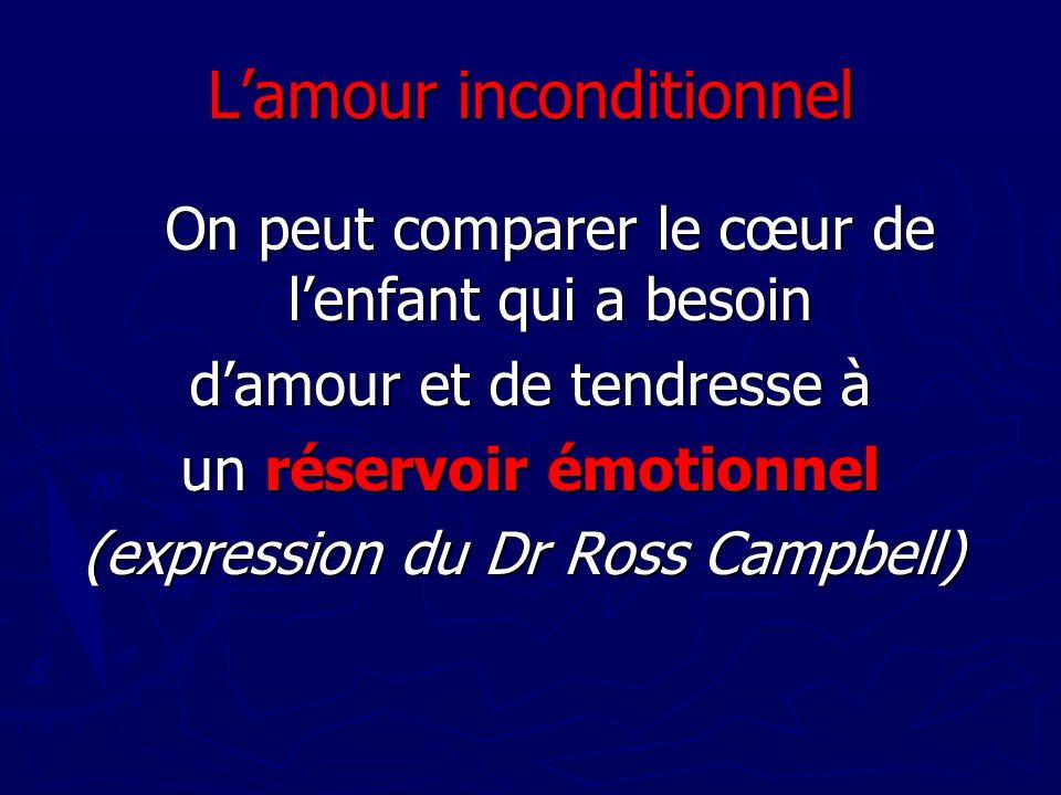 Lamour inconditionnel On peut comparer le cœur de lenfant qui a besoin damour et de tendresse à un réservoir émotionnel (expression du Dr Ross Campbel