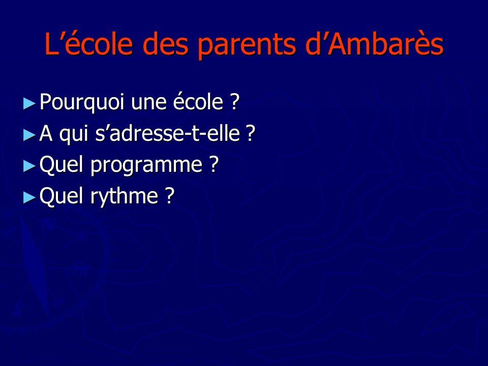 Lécole des parents dAmbarès Pourquoi une école ? Pourquoi une école ? A qui sadresse-t-elle ? A qui sadresse-t-elle ? Quel programme ? Quel programme