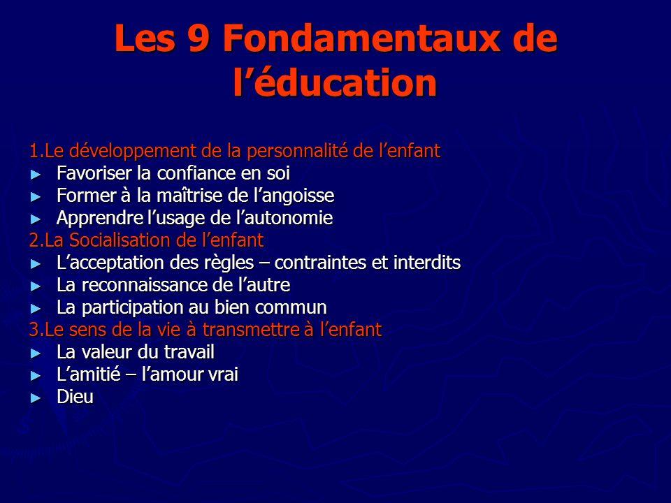 Les 9 Fondamentaux de léducation 1.Le développement de la personnalité de lenfant Favoriser la confiance en soi Favoriser la confiance en soi Former à