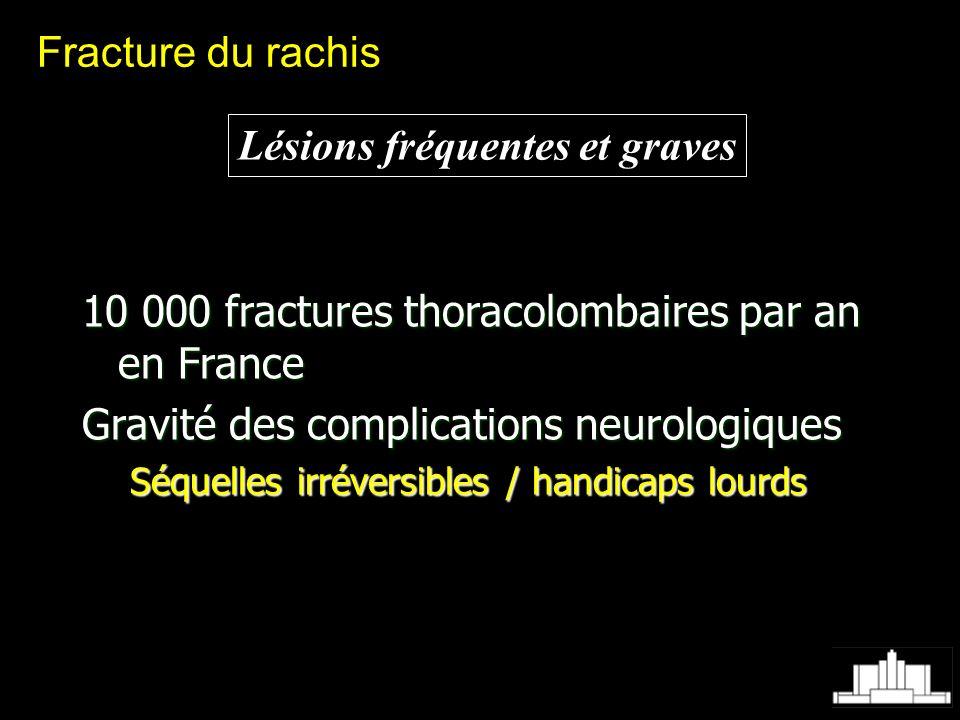 Fracture du rachis Lésions fréquentes et graves 10 000 fractures thoracolombaires par an en France Gravité des complications neurologiques Séquelles i