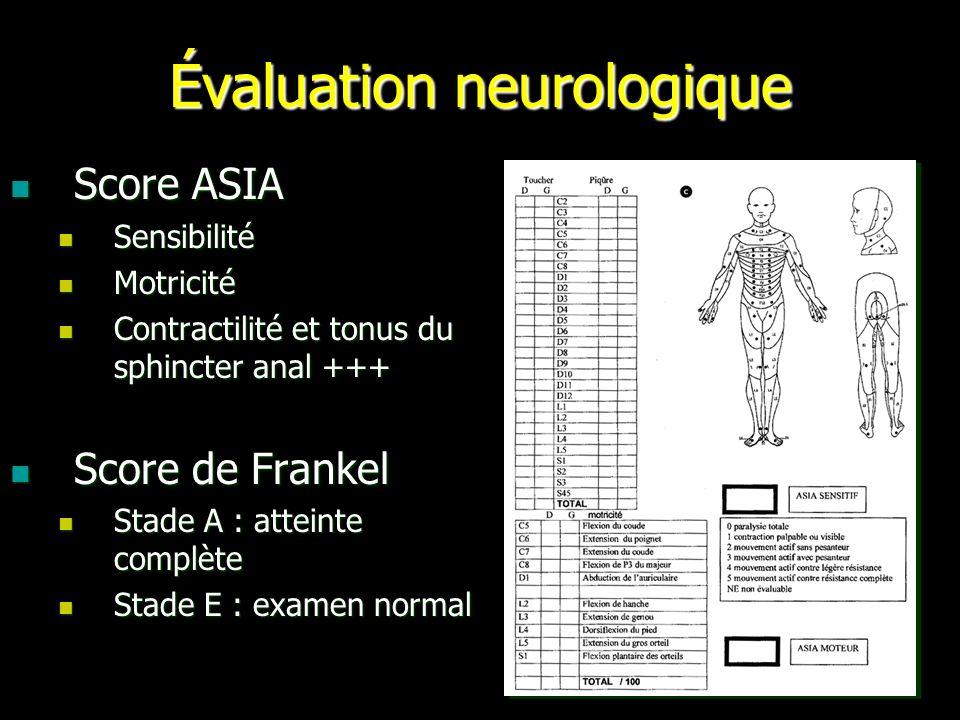 Évaluation neurologique Score ASIA Score ASIA Sensibilité Sensibilité Motricité Motricité Contractilité et tonus du sphincter anal +++ Contractilité e