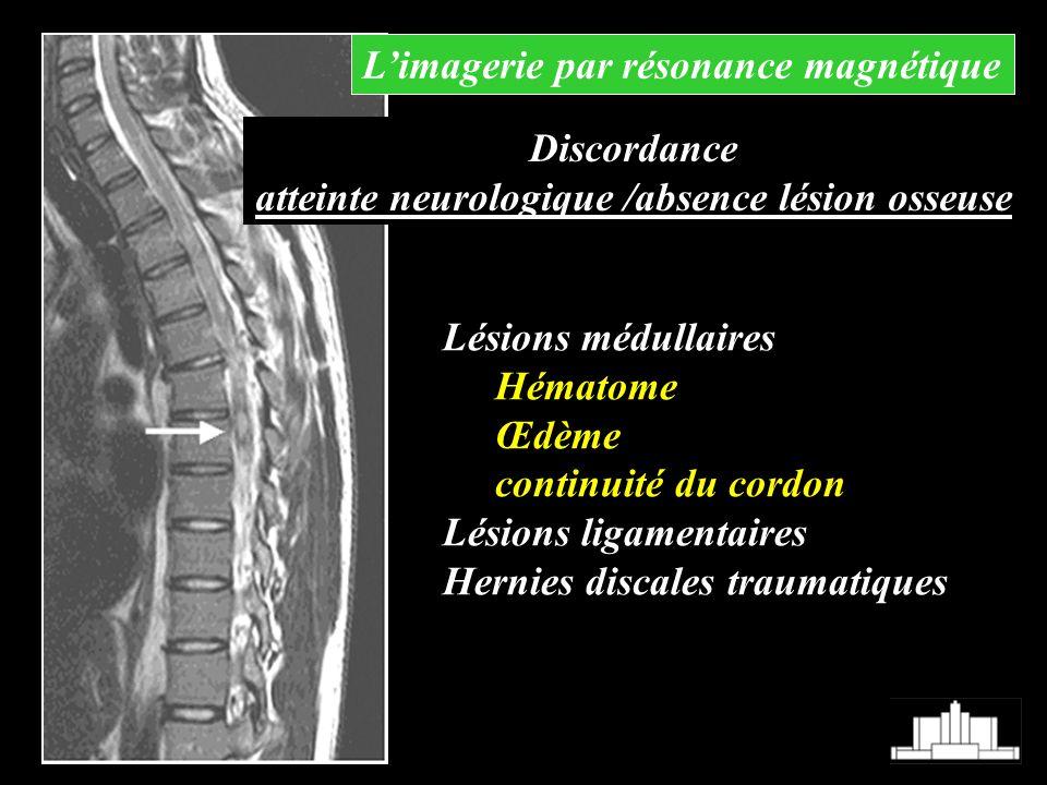Lésions médullaires Hématome Œdème continuité du cordon Lésions ligamentaires Hernies discales traumatiques Limagerie par résonance magnétique Discord