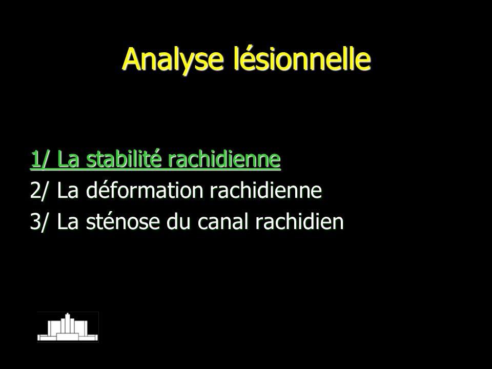 Analyse lésionnelle 1/ La stabilité rachidienne 2/ La déformation rachidienne 3/ La sténose du canal rachidien