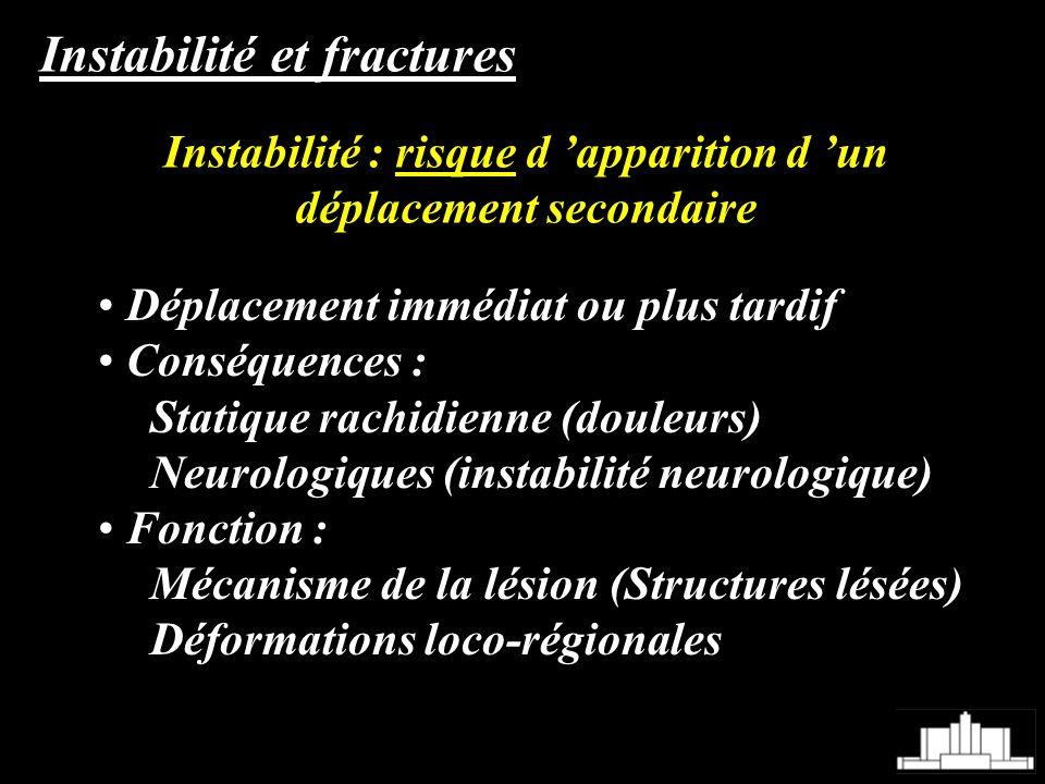 Instabilité et fractures Déplacement immédiat ou plus tardif Conséquences : Statique rachidienne (douleurs) Neurologiques (instabilité neurologique) F
