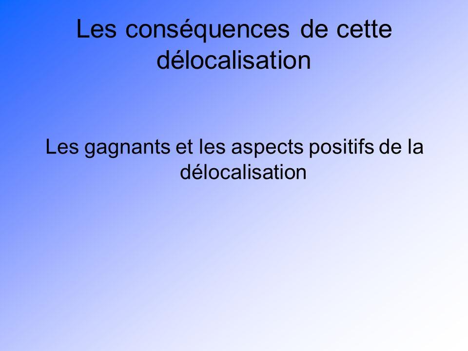 Les conséquences de cette délocalisation Les gagnants et les aspects positifs de la délocalisation