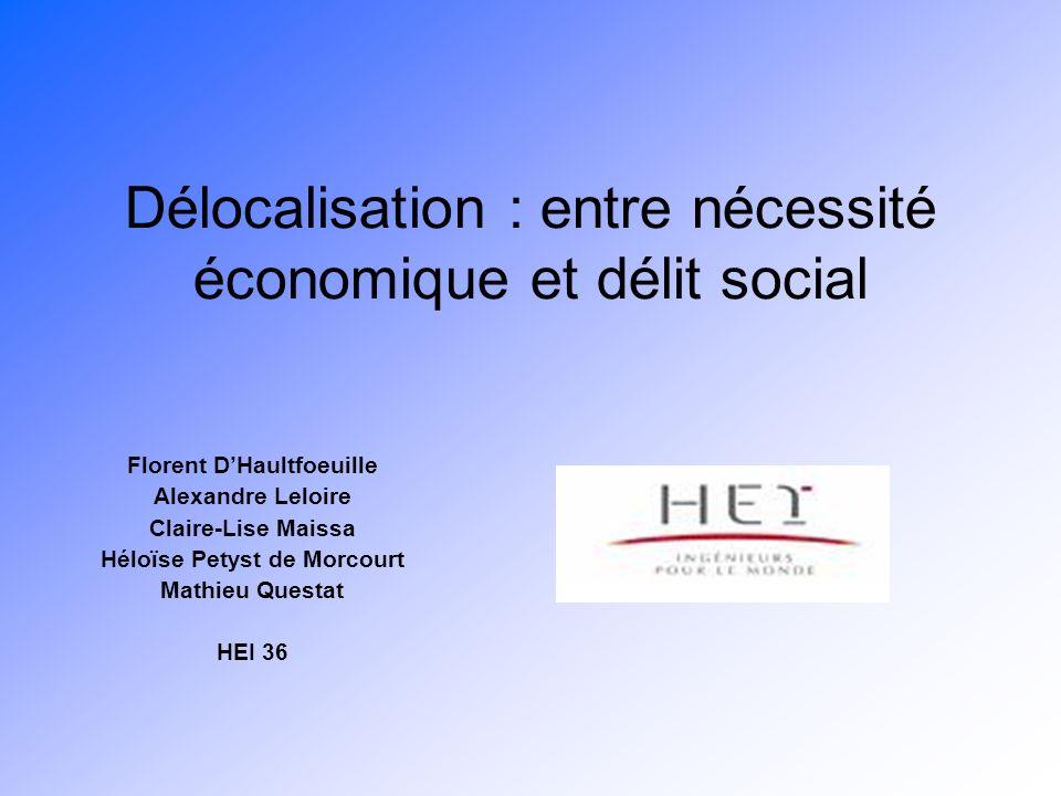 Délocalisation : entre nécessité économique et délit social Florent DHaultfoeuille Alexandre Leloire Claire-Lise Maissa Héloïse Petyst de Morcourt Mat