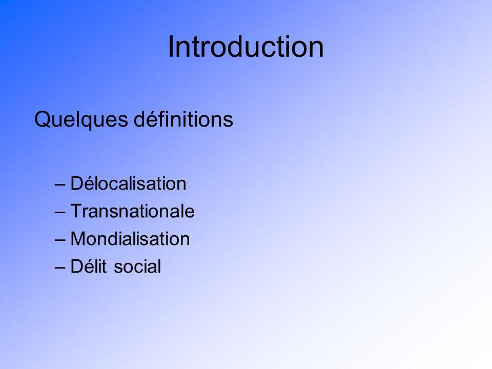 Introduction –Délocalisation –Transnationale –Mondialisation –Délit social Quelques définitions