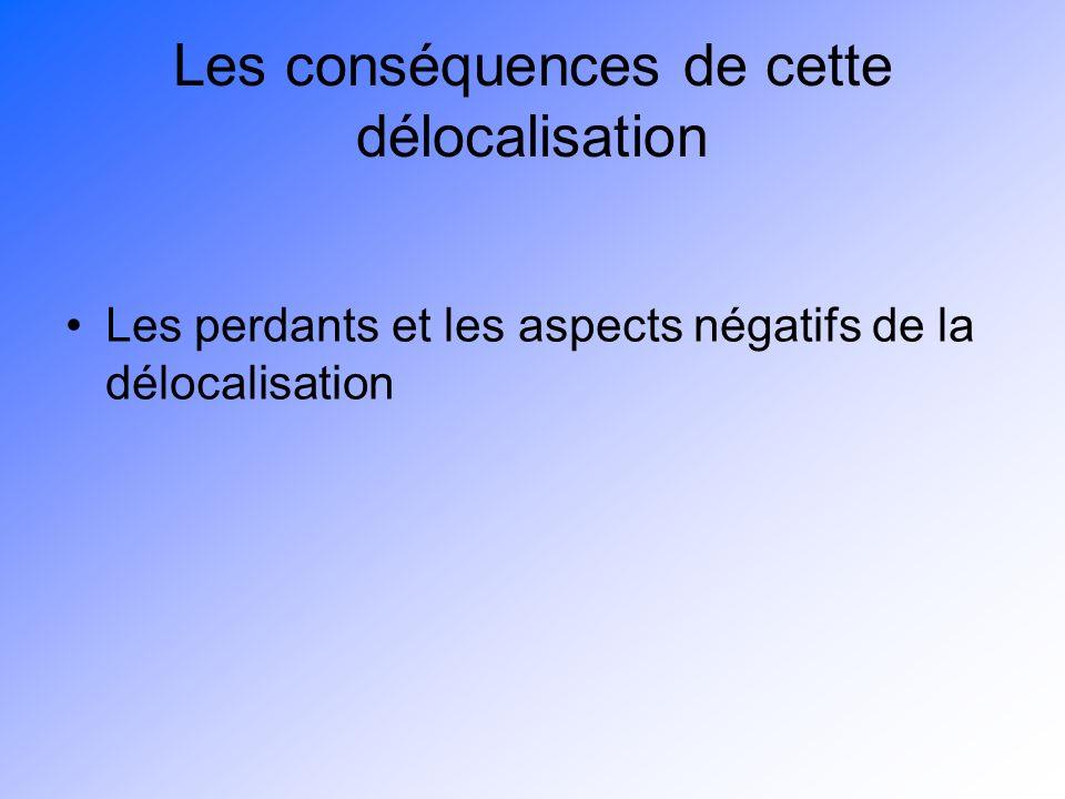 Les conséquences de cette délocalisation Les perdants et les aspects négatifs de la délocalisation