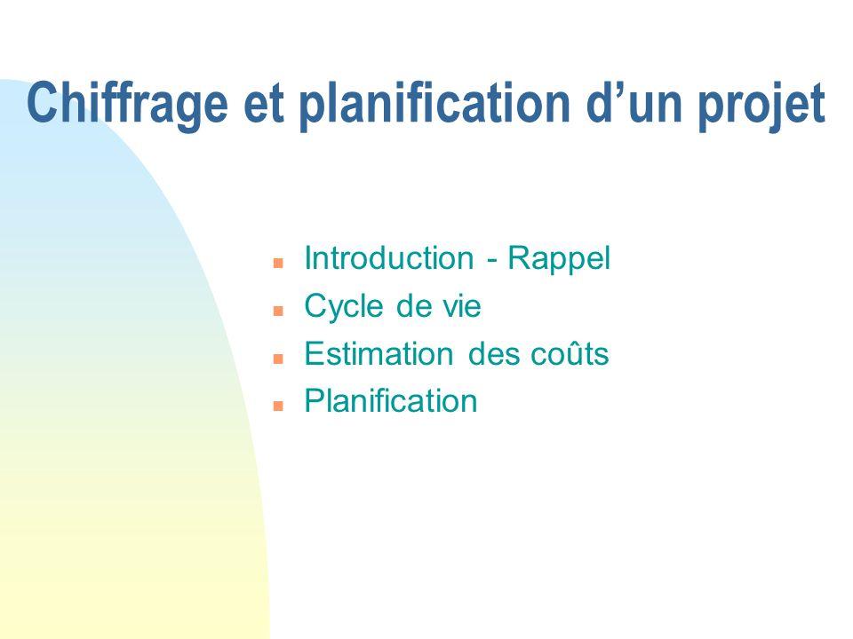 n Introduction - Rappel n Cycle de vie n Estimation des coûts n Planification Chiffrage et planification dun projet