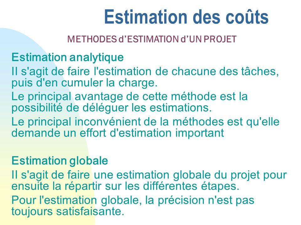 Estimation des coûts Estimation analytique II s'agit de faire l'estimation de chacune des tâches, puis d'en cumuler la charge. Le principal avantage d