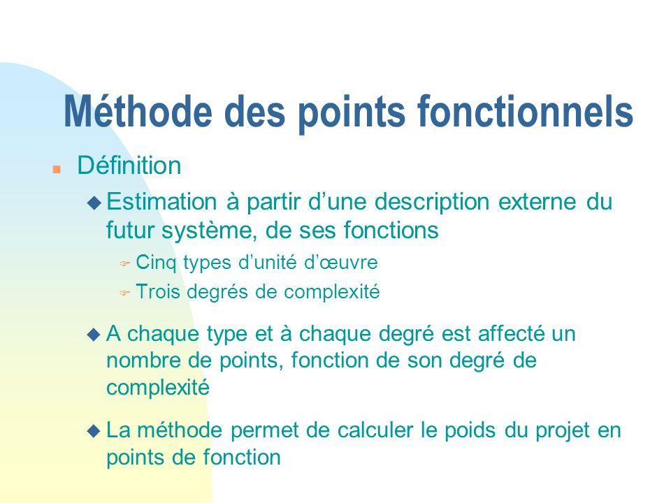 Méthode des points fonctionnels n Définition u Estimation à partir dune description externe du futur système, de ses fonctions F Cinq types dunité dœuvre F Trois degrés de complexité u A chaque type et à chaque degré est affecté un nombre de points, fonction de son degré de complexité u La méthode permet de calculer le poids du projet en points de fonction
