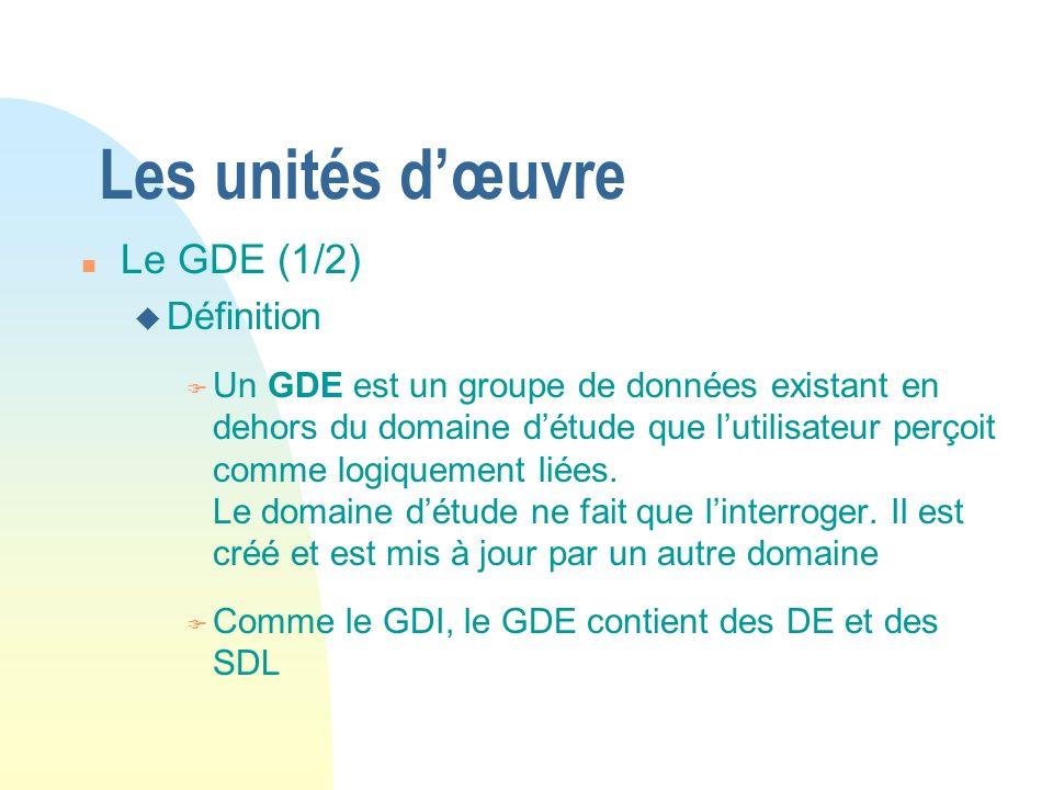 Les unités dœuvre n Le GDE (1/2) u Définition F Un GDE est un groupe de données existant en dehors du domaine détude que lutilisateur perçoit comme logiquement liées.