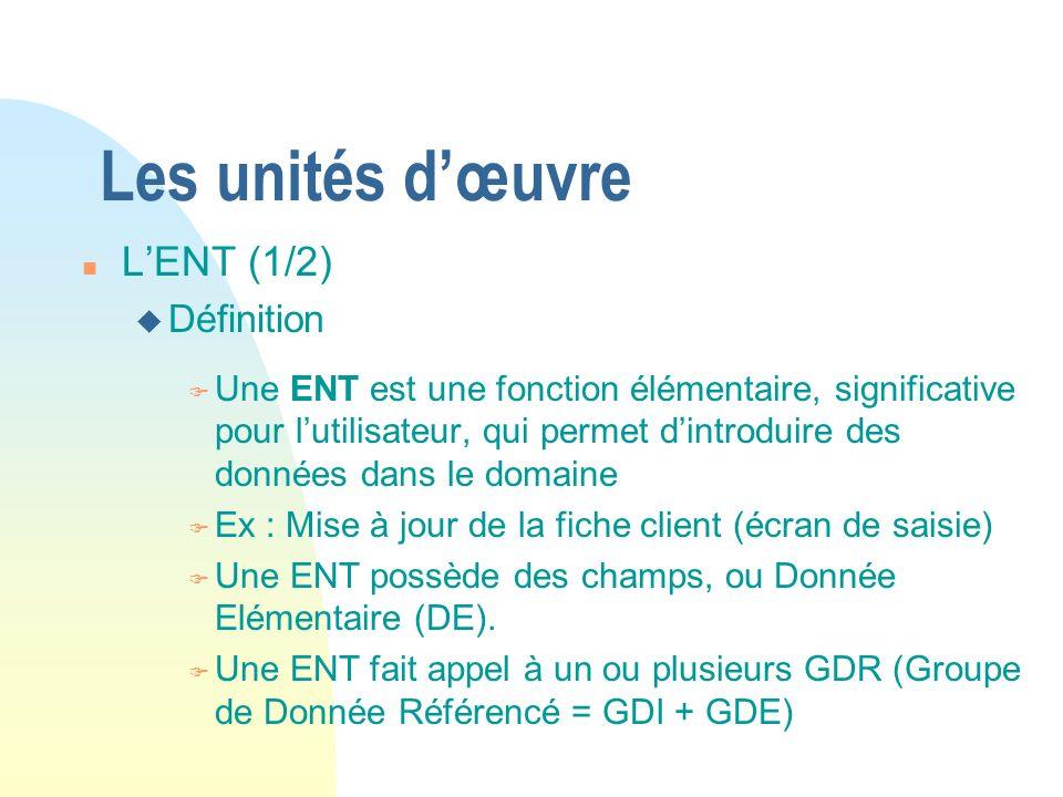 Les unités dœuvre n LENT (1/2) u Définition F Une ENT est une fonction élémentaire, significative pour lutilisateur, qui permet dintroduire des donnée