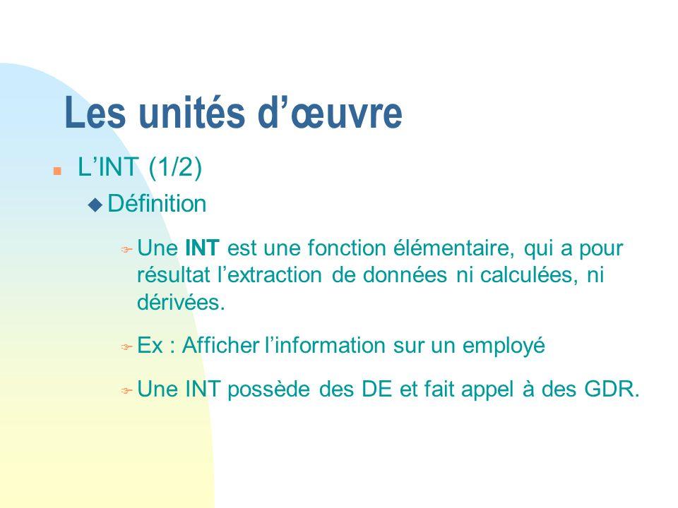 Les unités dœuvre n LINT (1/2) u Définition F Une INT est une fonction élémentaire, qui a pour résultat lextraction de données ni calculées, ni dérivées.