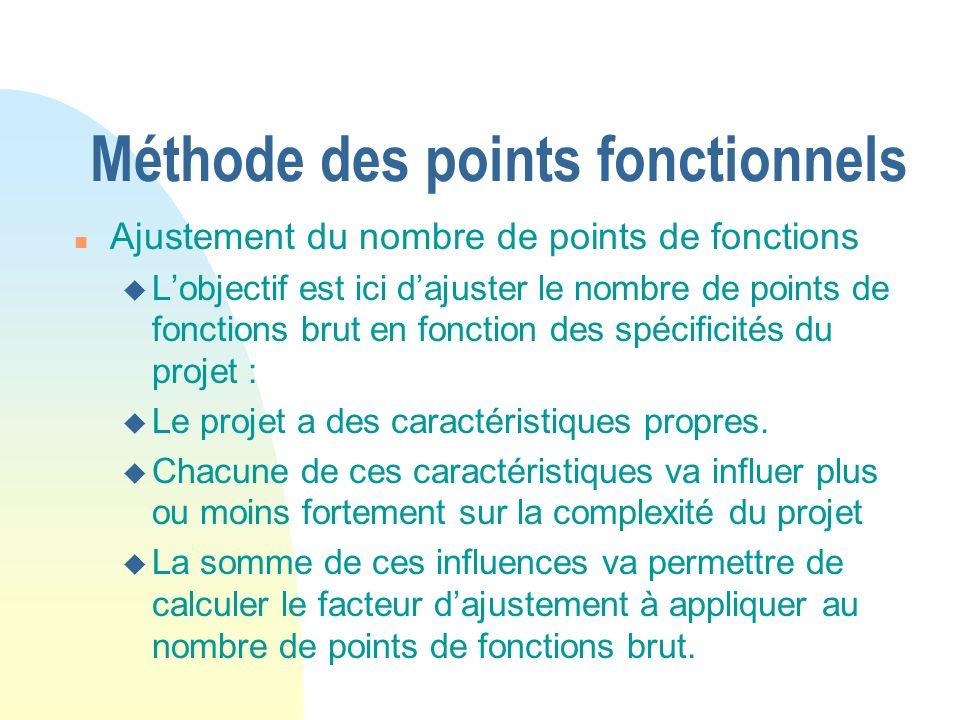 Méthode des points fonctionnels n Ajustement du nombre de points de fonctions u Lobjectif est ici dajuster le nombre de points de fonctions brut en fonction des spécificités du projet : u Le projet a des caractéristiques propres.