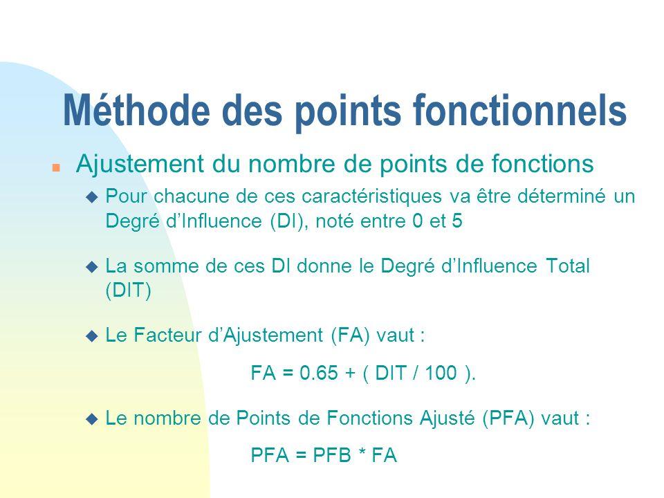 Méthode des points fonctionnels n Ajustement du nombre de points de fonctions u Pour chacune de ces caractéristiques va être déterminé un Degré dInfluence (DI), noté entre 0 et 5 u La somme de ces DI donne le Degré dInfluence Total (DIT) u Le Facteur dAjustement (FA) vaut : FA = 0.65 + ( DIT / 100 ).