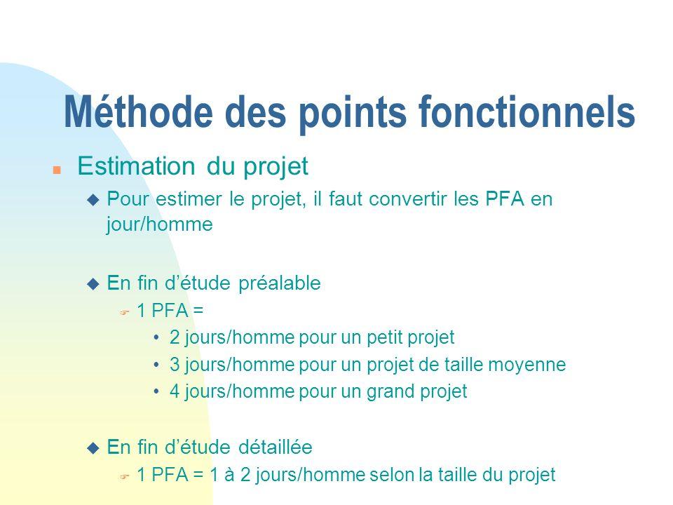 Méthode des points fonctionnels n Estimation du projet u Pour estimer le projet, il faut convertir les PFA en jour/homme u En fin détude préalable F 1 PFA = 2 jours/homme pour un petit projet 3 jours/homme pour un projet de taille moyenne 4 jours/homme pour un grand projet u En fin détude détaillée F 1 PFA = 1 à 2 jours/homme selon la taille du projet