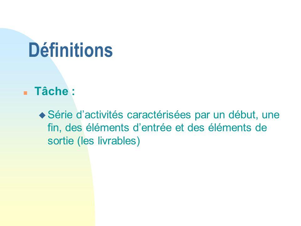 Définitions n Tâche : u Série dactivités caractérisées par un début, une fin, des éléments dentrée et des éléments de sortie (les livrables)