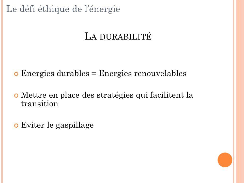 Energies durables = Energies renouvelables Mettre en place des stratégies qui facilitent la transition Eviter le gaspillage L A DURABILITÉ Le défi éth