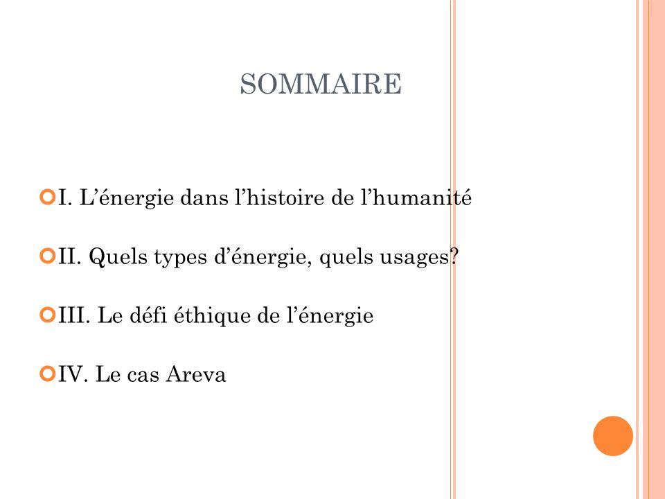 SOMMAIRE I. Lénergie dans lhistoire de lhumanité II. Quels types dénergie, quels usages? III. Le défi éthique de lénergie IV. Le cas Areva