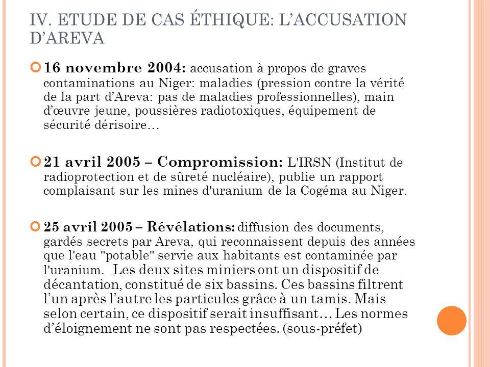 IV. ETUDE DE CAS ÉTHIQUE: LACCUSATION DAREVA 16 novembre 2004: accusation à propos de graves contaminations au Niger: maladies (pression contre la vér