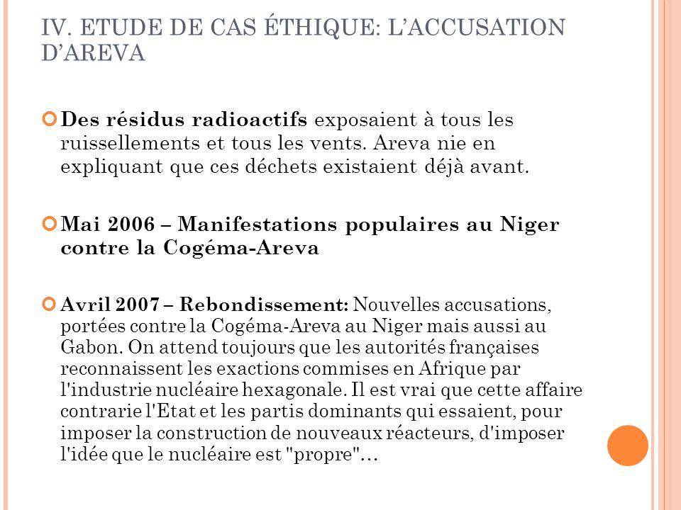 IV. ETUDE DE CAS ÉTHIQUE: LACCUSATION DAREVA Des résidus radioactifs exposaient à tous les ruissellements et tous les vents. Areva nie en expliquant q