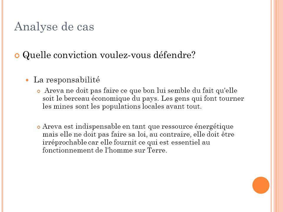 Analyse de cas Quelle conviction voulez-vous défendre? La responsabilité Areva ne doit pas faire ce que bon lui semble du fait qu'elle soit le berceau
