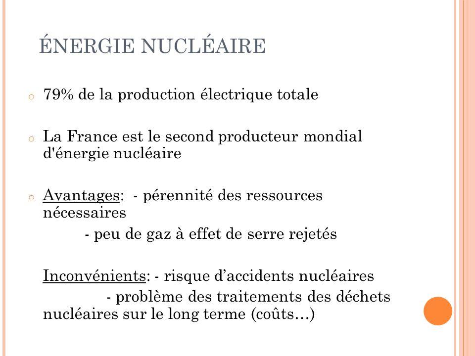 ÉNERGIE NUCLÉAIRE o 79% de la production électrique totale o La France est le second producteur mondial d'énergie nucléaire o Avantages: - pérennité d