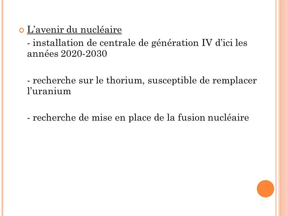 Lavenir du nucléaire - installation de centrale de génération IV dici les années 2020-2030 - recherche sur le thorium, susceptible de remplacer lurani