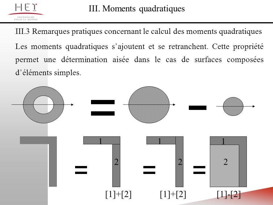 III.3 Remarques pratiques concernant le calcul des moments quadratiques Les moments quadratiques sajoutent et se retranchent. Cette propriété permet u