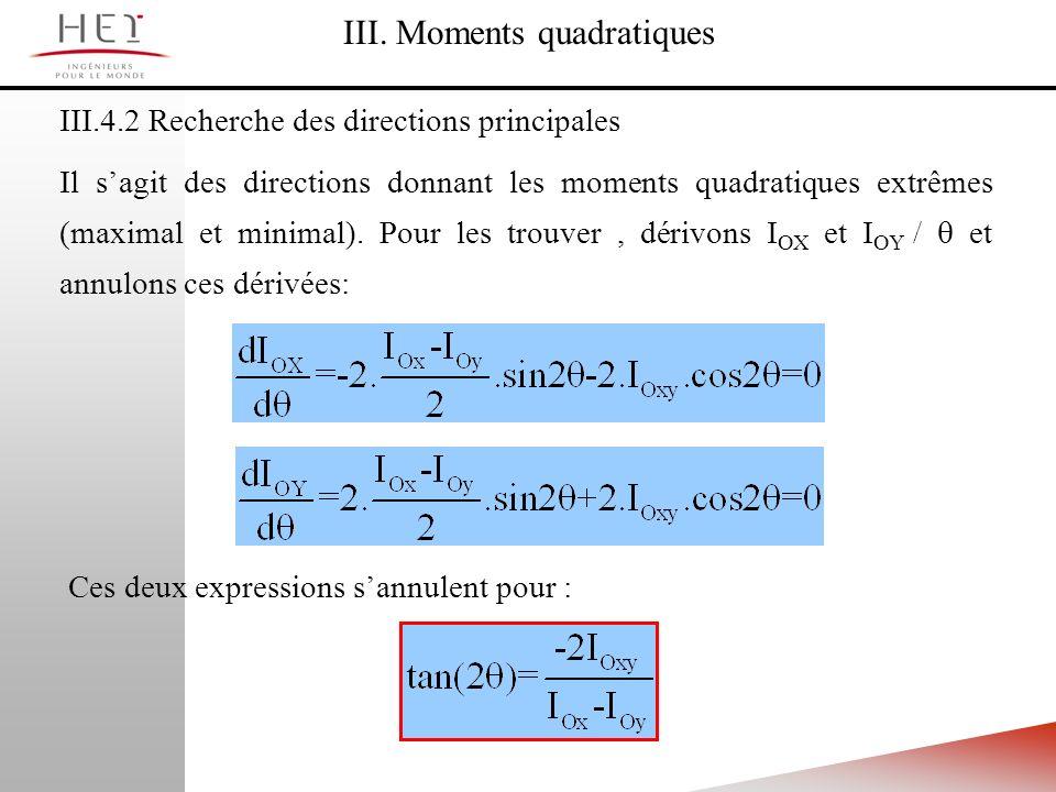 III.4.2 Recherche des directions principales III. Moments quadratiques Il sagit des directions donnant les moments quadratiques extrêmes (maximal et m