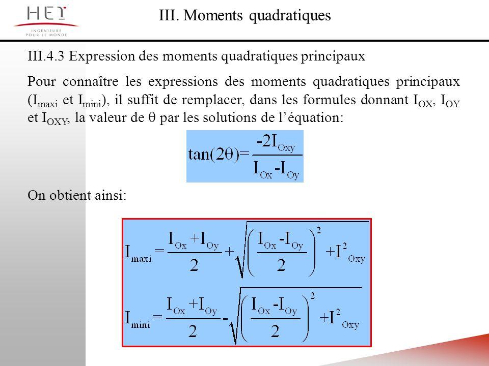 III.4.3 Expression des moments quadratiques principaux III. Moments quadratiques Pour connaître les expressions des moments quadratiques principaux (I