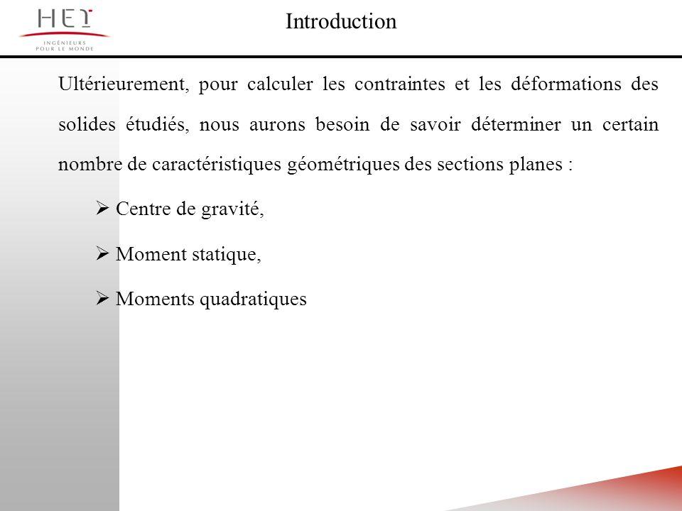 Ultérieurement, pour calculer les contraintes et les déformations des solides étudiés, nous aurons besoin de savoir déterminer un certain nombre de ca