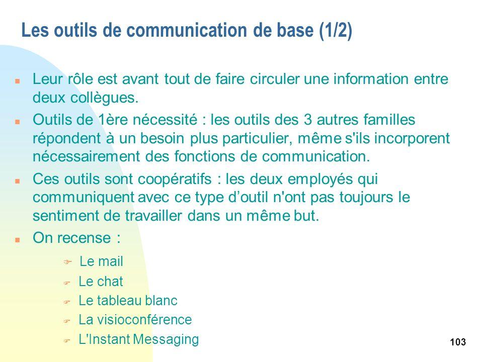 103 Les outils de communication de base (1/2) n Leur rôle est avant tout de faire circuler une information entre deux collègues. n Outils de 1ère néce