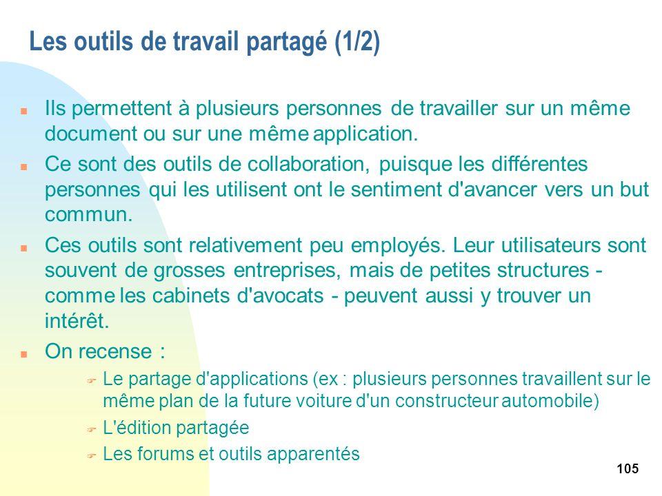 105 Les outils de travail partagé (1/2) n Ils permettent à plusieurs personnes de travailler sur un même document ou sur une même application. n Ce so
