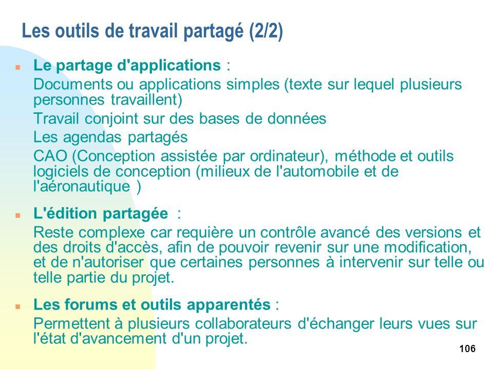 106 n Le partage d'applications : Documents ou applications simples (texte sur lequel plusieurs personnes travaillent) Travail conjoint sur des bases
