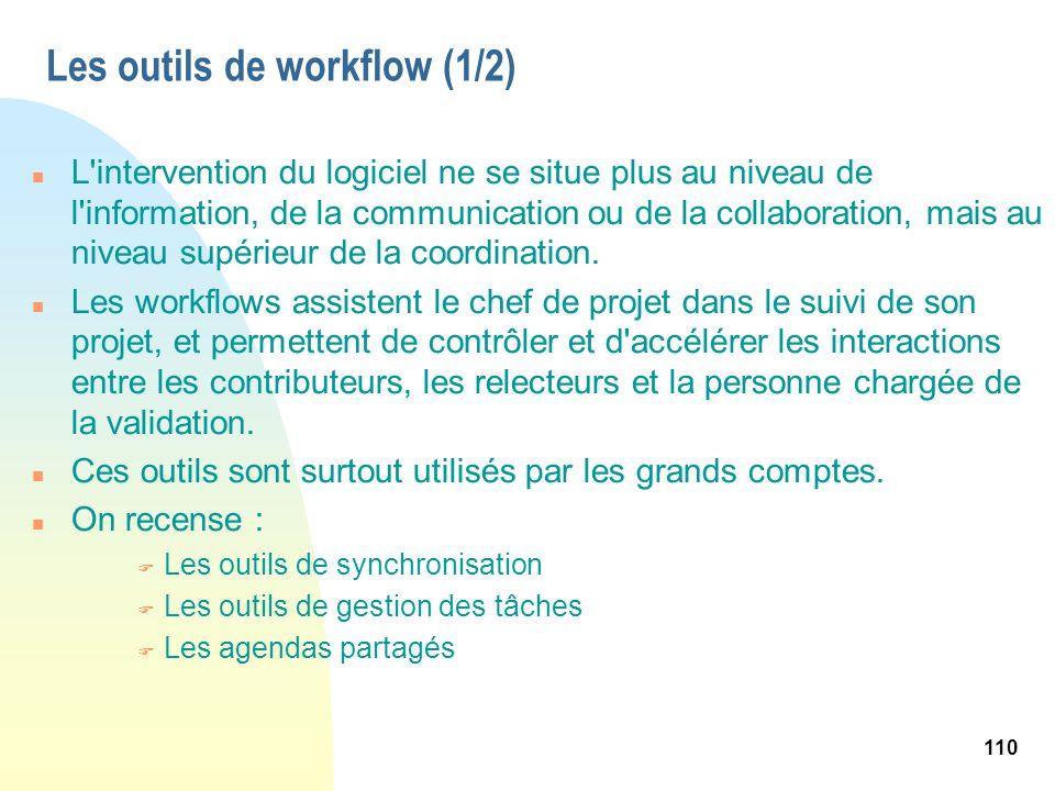 110 Les outils de workflow (1/2) n L'intervention du logiciel ne se situe plus au niveau de l'information, de la communication ou de la collaboration,