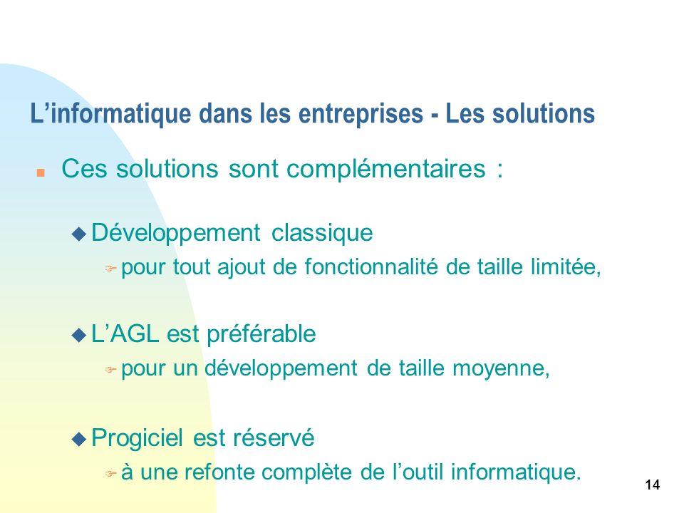 14 Linformatique dans les entreprises - Les solutions n Ces solutions sont complémentaires : u Développement classique F pour tout ajout de fonctionna