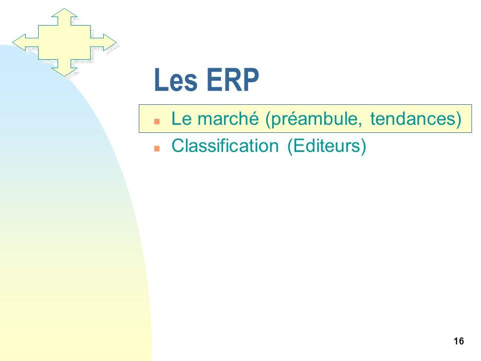 16 Les ERP n Le marché (préambule, tendances) n Classification (Editeurs)