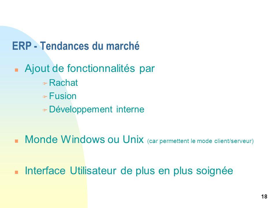 18 ERP - Tendances du marché n Ajout de fonctionnalités par F Rachat F Fusion F Développement interne n Monde Windows ou Unix (car permettent le mode