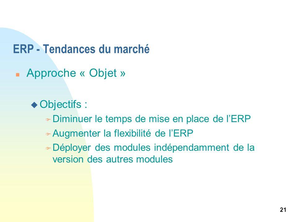 21 ERP - Tendances du marché n Approche « Objet » u Objectifs : F Diminuer le temps de mise en place de lERP F Augmenter la flexibilité de lERP F Dépl