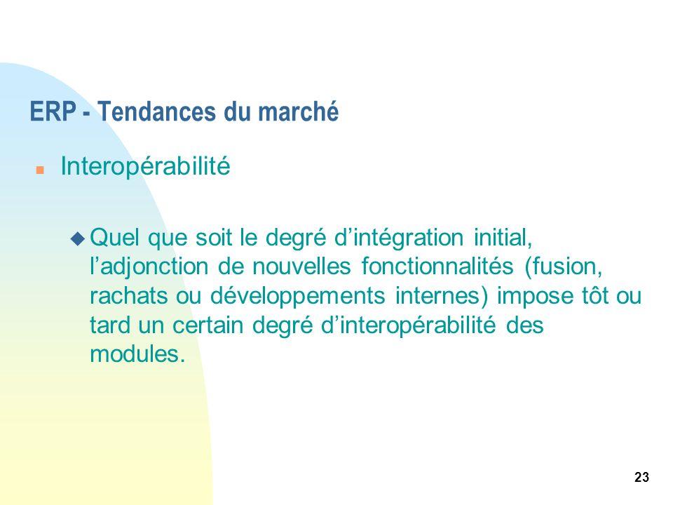23 ERP - Tendances du marché n Interopérabilité u Quel que soit le degré dintégration initial, ladjonction de nouvelles fonctionnalités (fusion, racha