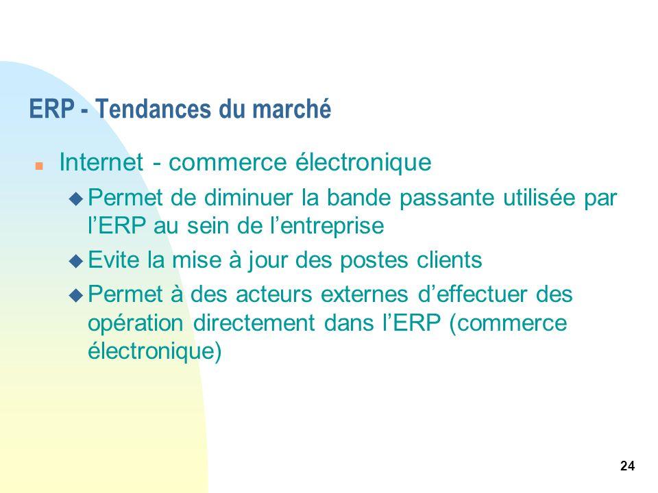 24 ERP - Tendances du marché n Internet - commerce électronique u Permet de diminuer la bande passante utilisée par lERP au sein de lentreprise u Evit