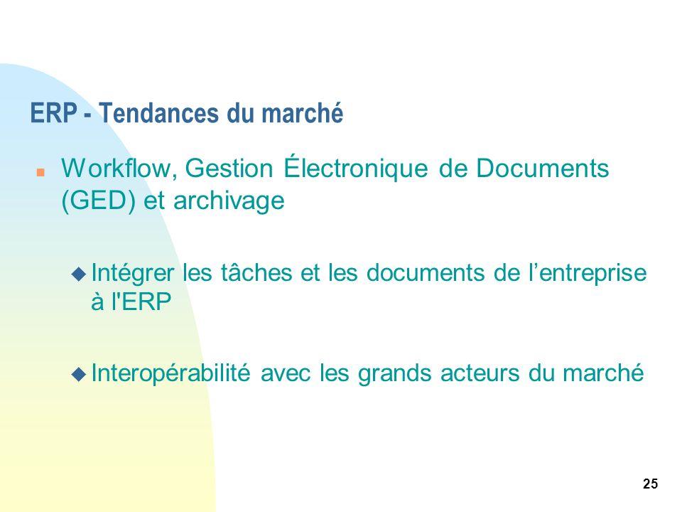 25 ERP - Tendances du marché n Workflow, Gestion Électronique de Documents (GED) et archivage u Intégrer les tâches et les documents de lentreprise à