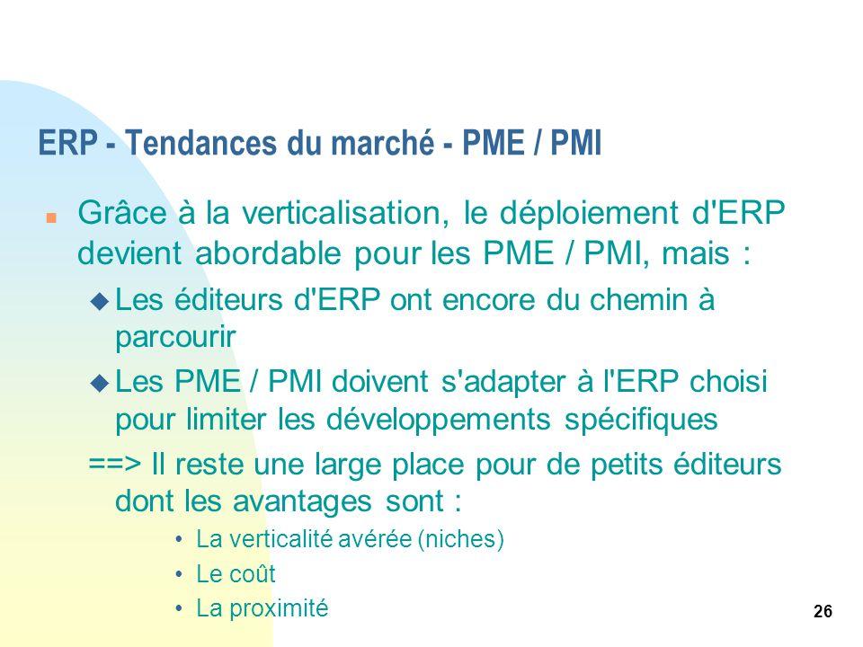 26 ERP - Tendances du marché - PME / PMI n Grâce à la verticalisation, le déploiement d'ERP devient abordable pour les PME / PMI, mais : u Les éditeur